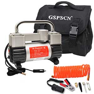 GSPSCN-Silver-Inflator-Heavy-Duty-Double-Cylinders-with-Portable-Bag-12V-Metal-Compressor-Pump-150PSI-with-Adapter-to-150-PSI-for-Car,-Truck,-SUV-Tires